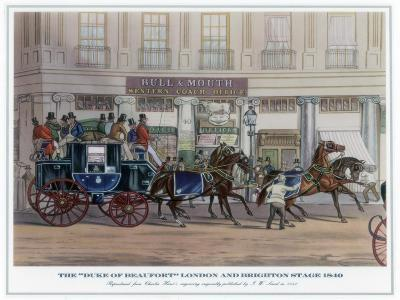 The 'Duke of Beaufort' London and Brighton Stage, 1840-JW Land-Giclee Print