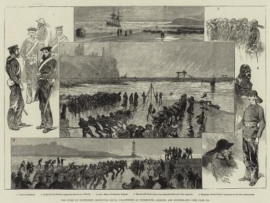The Duke of Edinburgh Inspecting Naval Volunteers at Tynemouth, Shields, and Sunderland-Charles Auguste Loye-Giclee Print