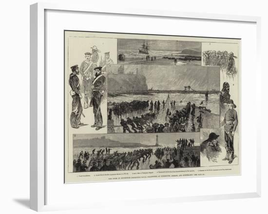 The Duke of Edinburgh Inspecting Naval Volunteers at Tynemouth, Shields, and Sunderland-Charles Auguste Loye-Framed Giclee Print