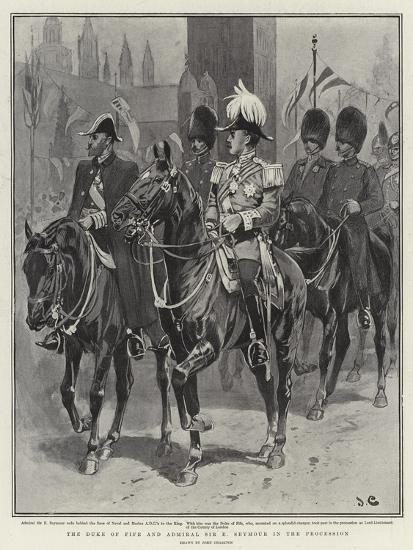 The Duke of Fife and Admiral Sir E Seymour in the Procession-John Charlton-Giclee Print