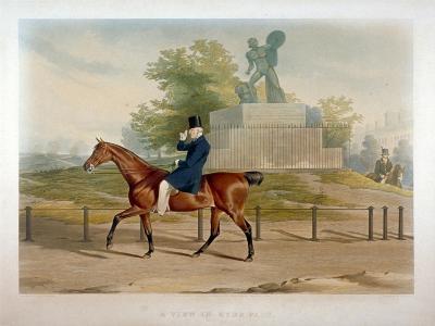 The Duke of Wellington Riding Past the Achilles Statue in Hyde Park, London, 1844-John Harris-Giclee Print