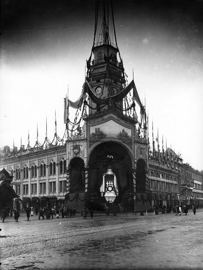 The Duma Tower Decorated for a Visit of the French President, St Petersburg, C.Early C20th--Photographic Print