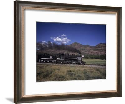 The Durango and Silverton Steam Engine Cruises Along on a Summer Day, Durango, Colorado-Taylor S^ Kennedy-Framed Photographic Print