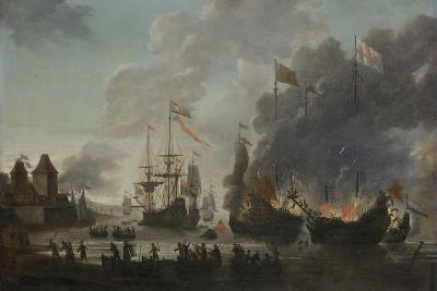 The Dutch Burn English Ships During the Expedition to Chatham-Jan van Leyden-Giclee Print