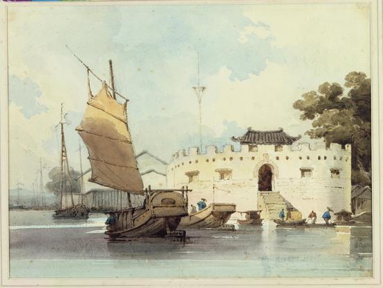 The Dutch Folly Fort off Canton-George Chinnery-Giclee Print