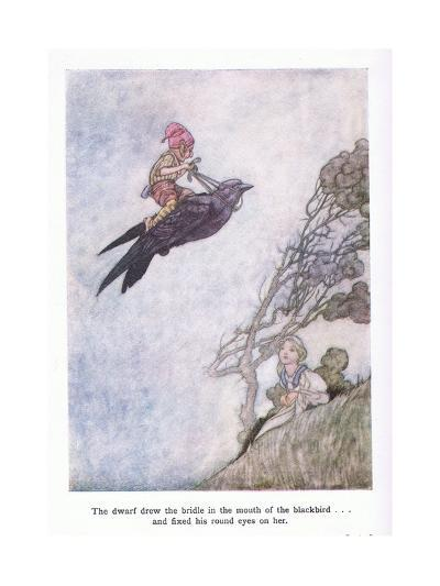 The Dwarf Drew the Bridle in the Mouth of the Blackbird and Fixed His Round Eyes on Her-Charles Robinson-Giclee Print