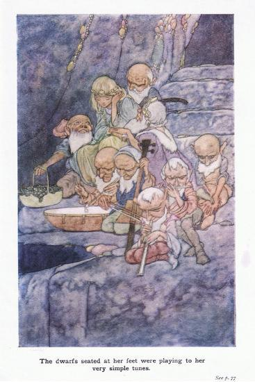 The Dwarfs Seated at Her Feet Were Playing to Her Very Simple Tunes-Charles Robinson-Giclee Print