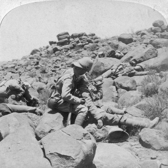 The Dying Bugler's Last Call, a Battlefield Incident, Gras Pan, South Africa, 1900-Underwood & Underwood-Giclee Print