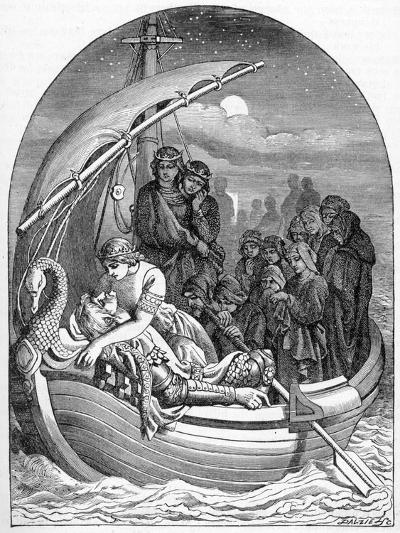 The Dying King Arthur Is Carried Away to Avalon on a Magical Ship with Three Queens, 1901- Dalziel Brothers-Giclee Print