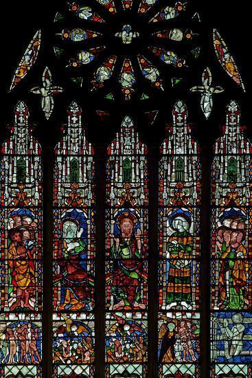The E Window Depicting the Last Judgement: Christ, Virgin Mary, St John Baptist--Photographic Print