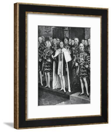 The Earl Marshal, Heralds, and Other Officers of Arms, Coronation of George VI, 12 May 1937-W Smithson Broadhead-Framed Giclee Print