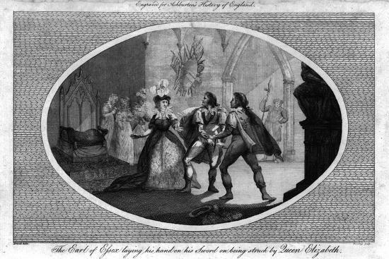 'The Earl of Essex laying his hand on his Sword on being struck by Queen Elizabeth.', (1792)-Unknown-Giclee Print