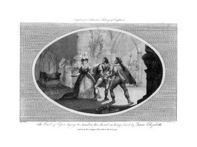 The Earl of Essex Laying His Hand on His Sword on Being Struck by Queen Elizabeth- Wooding-Giclee Print