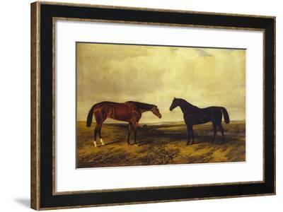 The Earl of Granards's Bright Bay Filly and Dark Bay Stallion Standing in an Extensive Landscape-William Luker-Framed Giclee Print