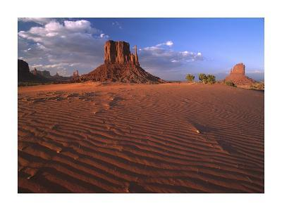 The east and west Mittens surrounded by rippled sand, Monument Valley Navajo Tribal Park, Arizona-Tim Fitzharris-Art Print