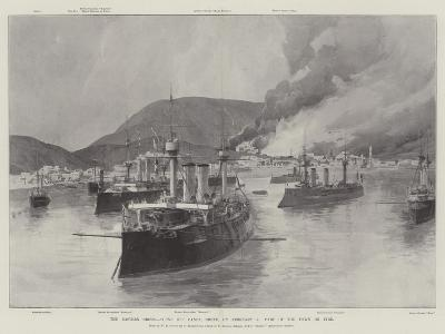 The Eastern Crisis, Scene Off Canea, Crete, on 5 February, Part of the Town on Fire-William Heysham Overend-Giclee Print