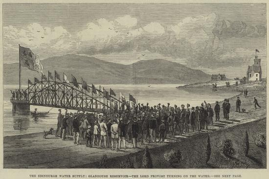 The Edinburgh Water Supply, Gladhouse Reservoir, the Lord Provost Turning on the Water--Giclee Print