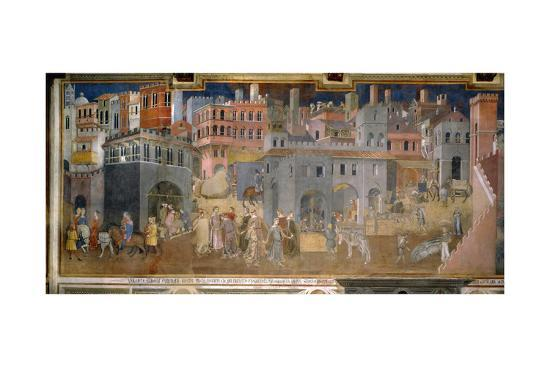 The effects of good government in cities-Ambrogio Lorenzetti-Giclee Print