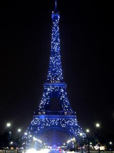 The Eiffel Tower Shows Blue Lighting to Mark Europe's Day