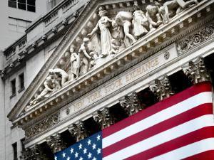 The elaborate stone work on the New York Stock Exchange facade