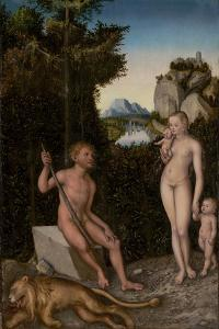 A Faun and His Family with a Slain Lion, c.1526 by The Elder Cranach Lucas