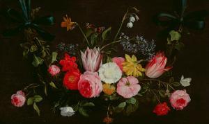 Tulips, Peonies and Butterflies by The Elder Kessel Jan Van