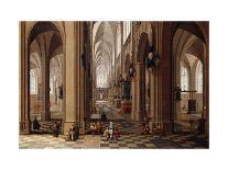 The Interior of a Gothic Cathedral with Townsfolk and Pigrims-Pieter Neeffs, the Elder-Giclee Print