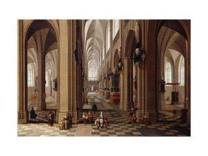 The Interior of a Gothic Cathedral with Townsfolk and Pigrims by the Elder Pieter Neeffs