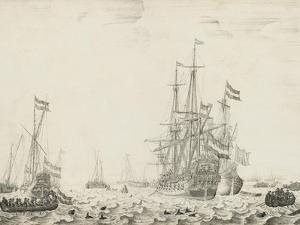Dutch Ships near the Coast, early 1650s by the Elder Velde Willem van de