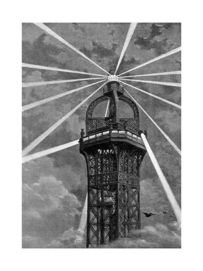 The Electric Light on Top of the Eiffel Tower, Paris, 1889--Giclee Print