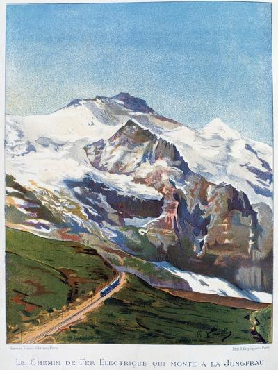 The Electric Railroad to Mount Jungfrau, Swiss Alps, 19th Century-Gustave Francois Lasellaz-Giclee Print