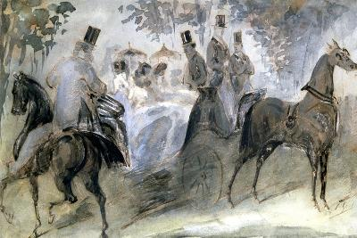 The Elegant Horse and Riders, C1822-1892-Constantin Guys-Giclee Print