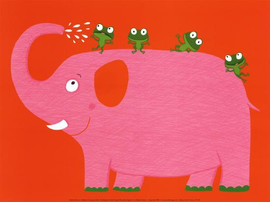 The Elephant and the Frog-Nathalie Choux-Art Print