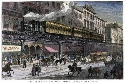 The Elevated Railway, Third Avenue, New York, 1879--Giclee Print