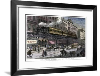 The Elevated Railway, Third Avenue, New York, 1879--Framed Giclee Print
