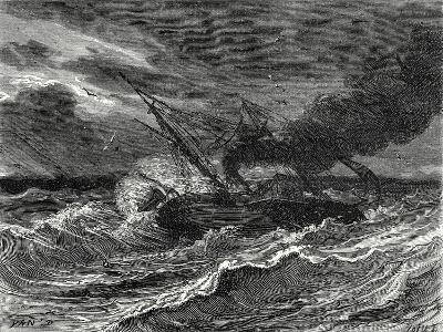 The 'Elise' the First Steamboat Travelling from England to France Is Caught Up in a Storm at Sea--Giclee Print