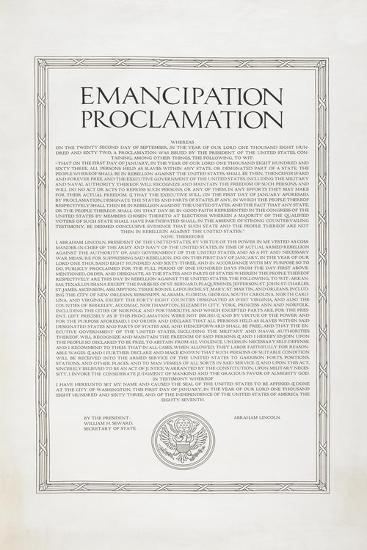 The Emancipation Proclamation. Abraham Lincoln Declares All Slaves in the United States Free--Giclee Print
