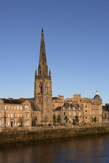The Embankment of the Tay River and St Matthew's Church, Perth, Scotland, United Kingdom--Photographic Print