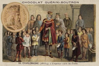 The Emperor Charlemagne Visiting a School, 814--Giclee Print