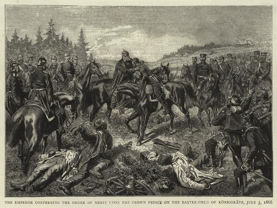 The Emperor Conferring the Order of Merit Upon the Crown Prince on the Battle-Field of Koniggratz--Giclee Print