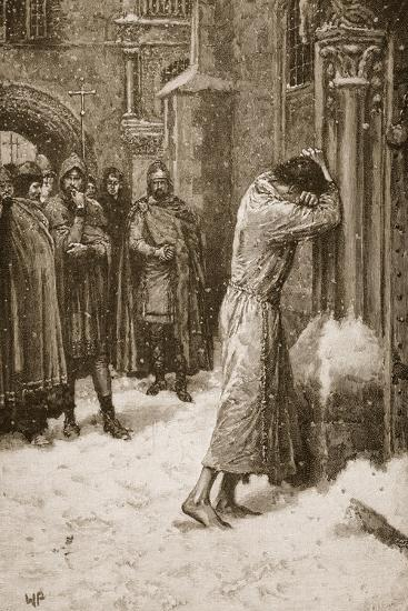 The Emperor Henry IV Doing Penance at Pope Hildebrand's Gate--Giclee Print