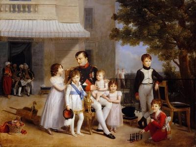 The Emperor Napoleon I on the Terrace of the Château Saint-Cloud Surrounded by His Children-Louis Ducis-Giclee Print