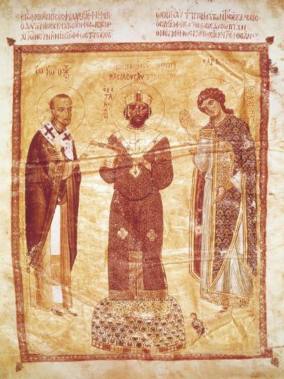 The Emperor Nicephorus Between Saint John Chrysostom and the Archangel Michael--Giclee Print