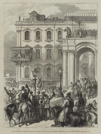 The Emperor of Russia Bowing to the People from the Soltykoff Balcony of the Winter Palace--Framed Giclee Print
