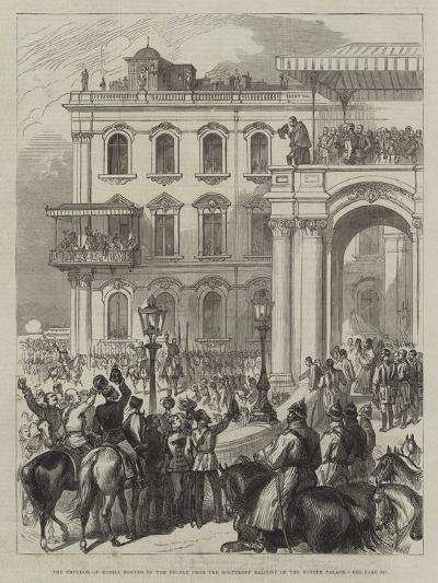 The Emperor of Russia Bowing to the People from the Soltykoff Balcony of the Winter Palace--Giclee Print