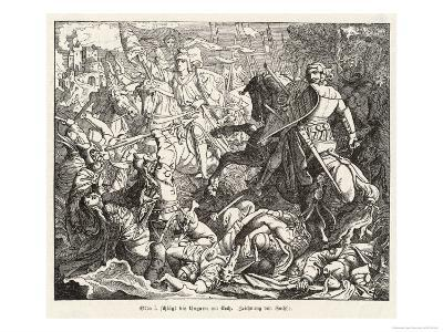 The Emperor Otto 1 Defeats the Hungarian Magyars at the Lechfeld- Sachse-Giclee Print