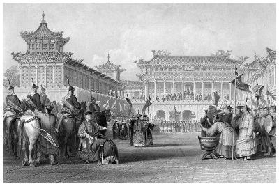 The Emperor Teaou-Kwang Reviewing His Guards, Palace of Peking, China, 19th Century-JB Allen-Giclee Print