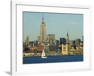 The Empire State Building and Midtown Manhattan Skyline Across the Hudson River, New York City-Amanda Hall-Framed Photographic Print