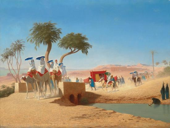 The Empress Eugenie Visiting the Pyramids-Charles Theodore Frere-Giclee Print