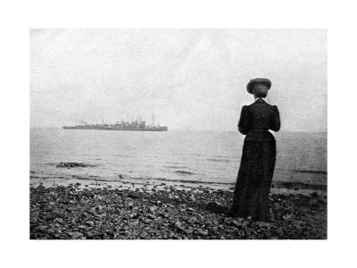 The Empress Maria Feodorovna Looking at a Danish Naval Vessel Off Hvidovre, Denmark, 1908--Giclee Print